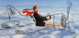 The Secret to Finding Your Dream Job (woman flying hand drawn airplane through clouds)