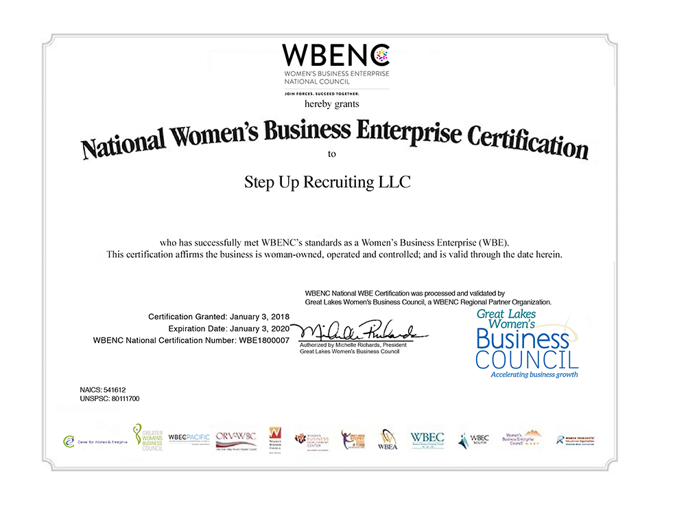 Wbenc 1 3 2020 Certification Step Up Recruiting 1 3 2020 Step Up