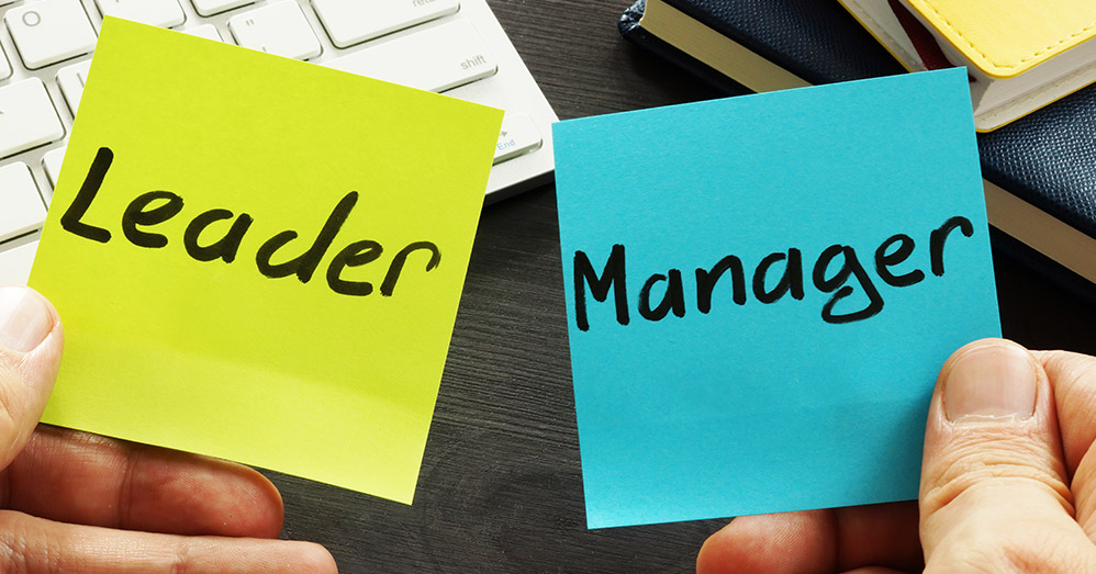 The Difference Between a Manager and a Leader  (sticky notes)