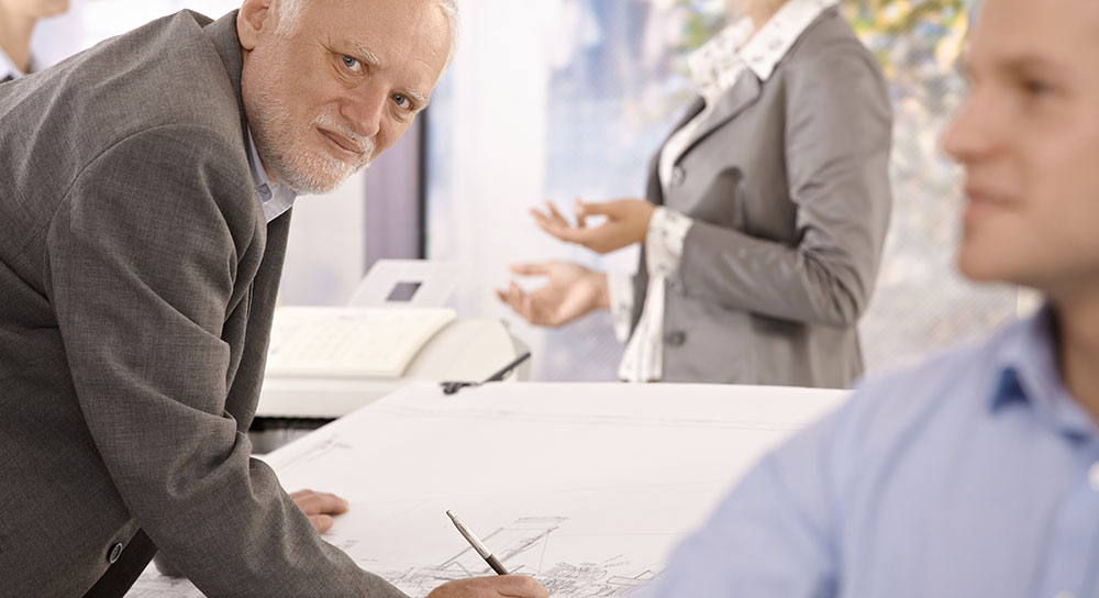 Retired but still want to work occasionally?  Image shows retired designer performing contract work