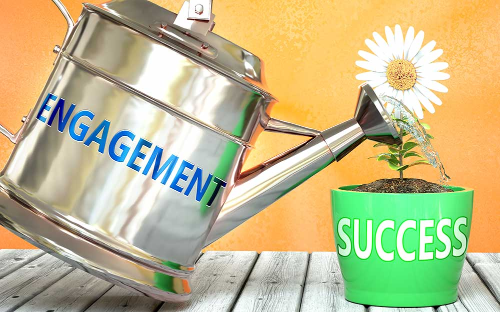 Employees Well-being is the Key to Successful Workplace Engagement (engagement watering can and success flower)